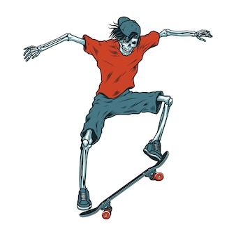 Винтажный скелет скейтбордист