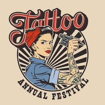Vintage colorful tattoo festival label