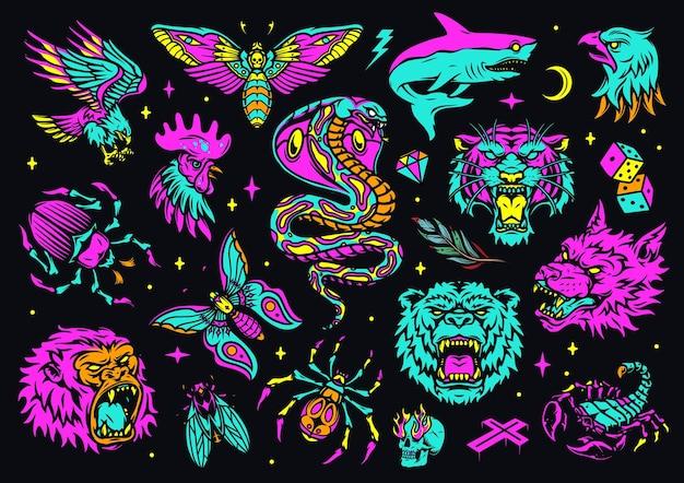 화난 동물 머리와 빈티지 다채로운 문신 구성