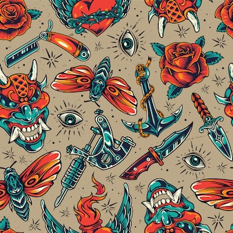 Vintage colorful tattoos seamless pattern