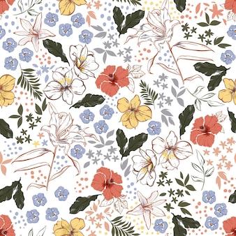 ヴィンテージカラーと手描きの咲く庭の花、植物の葉、スタイリッシュな水玉模様のシームレスなパターンを持つ多くの種類の花