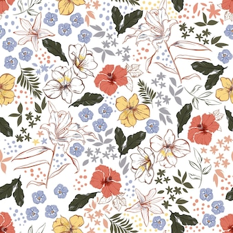 Vintage colour and hand drawn blooming garden floral ,botanical leaf ,many kind of flowers with stylish polka dots seamless pattern