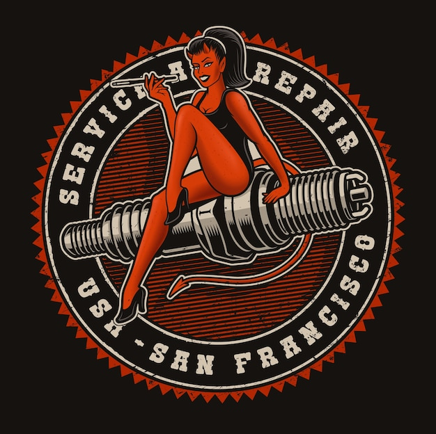 Vintage coloured  illustration of a devil girl on a spark plug on the dark background. text is in a separate group.