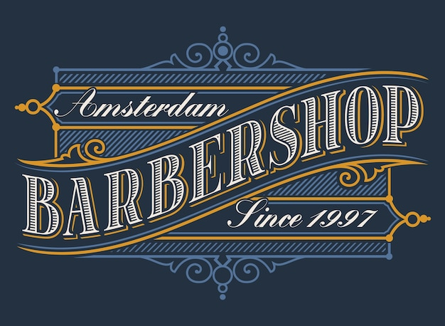 Vintage coloured lettering for the barbershop on the dark background. all items are in separate groups