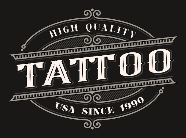 어두운 배경에 문신 스튜디오에 대한 빈티지 컬러 글자. 모든 항목은 별도의 그룹에 있습니다.