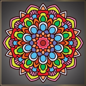 Vintage colourful mandala art with floral motifs