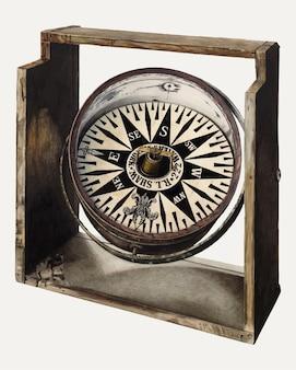 Винтажный вектор иллюстрации компаса, ремикс из работы чарльза лемке