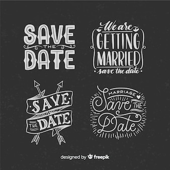Vintage concept for lettering collection on weeding day
