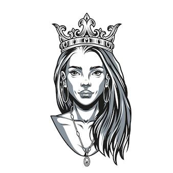 Винтажная концепция красивой женщины с подвеской в виде короны и серьгами в монохромном стиле, изолированных векторная иллюстрация