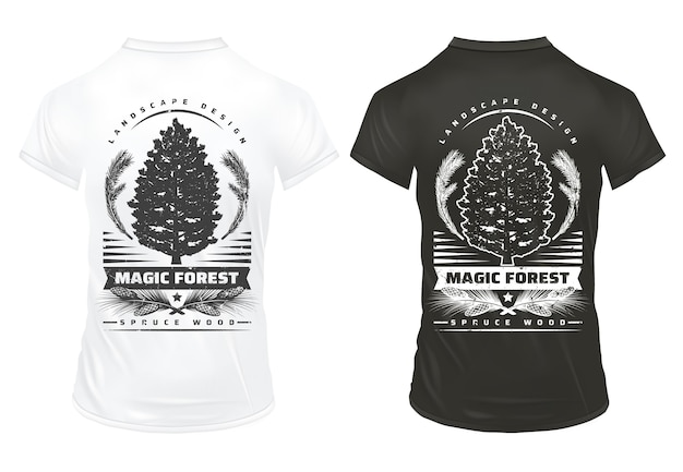 Vintage coniferous tree prints template with inscriptions fir tree branches cones on black and white shirts isolated