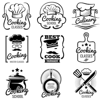 Vintage cooking in kitchen classes vector silhouette labels.