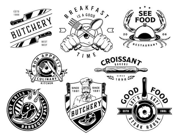 Vintage cooking monochrome labels set