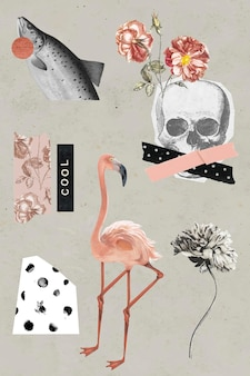 Vintage and cool sticker set vector