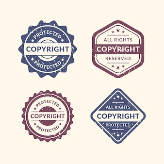 Vintage copyright stamps set