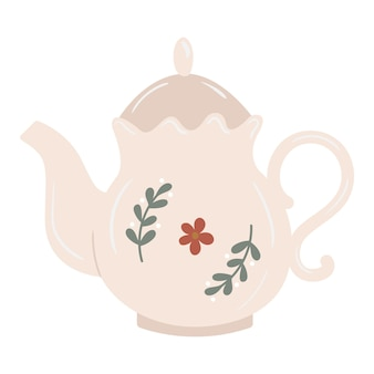 Vintage cottage style ceramic teapot with branches and flower decor