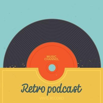 ポッドキャストチャンネルの音楽アルバムポスターのビンテージカバーレトロなポッドキャストまたは放送番組のビニールレコード