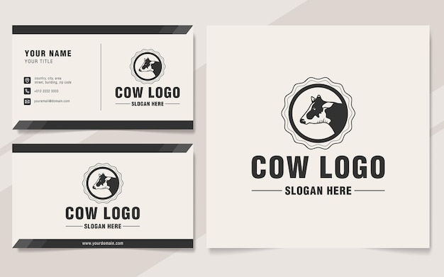 Vintage cow logo template monogram style