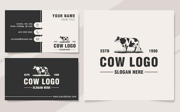 ヴィンテージ牛ロゴテンプレートモノグラムスタイル