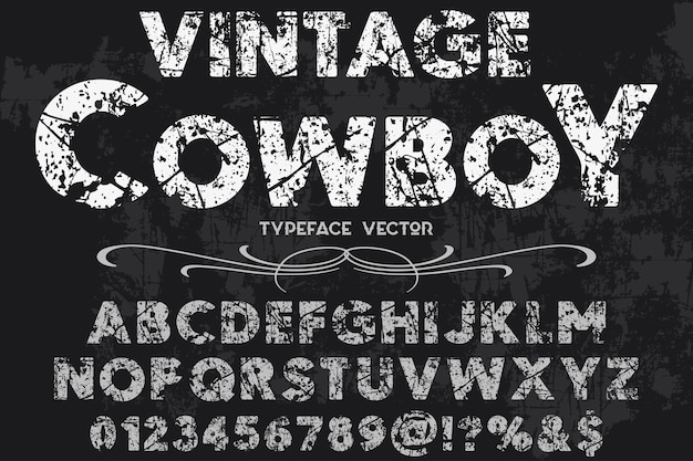 Vintage cowboy alphabet label design