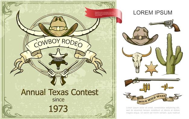 Composizione variopinta del rodeo del cowboy dell'annata con l'illustrazione dei proiettili del distintivo dello sceriffo del fucile da caccia del revolver del cactus del cranio del bufalo del cappello