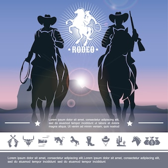 Vintage cowboy rodeo concept with jockeys riding horses and wild west icons  illustration,