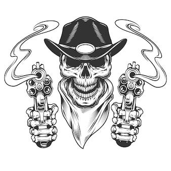Vintage cowboy skull in neck bandana