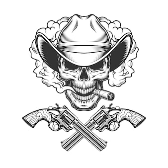 Vintage cowboy skull in smoke cloud