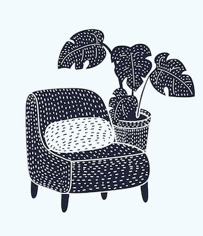 Vintage cozy chair in a dark room with a floor lamp