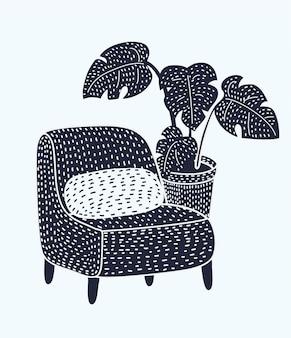 フロアランプ付きの暗い部屋でヴィンテージの居心地の良い椅子