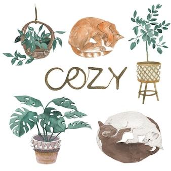 빈티지한 아늑한 홈 스타일. 고양이와 식물, 수채화 그림. 벡터 격리 요소입니다.