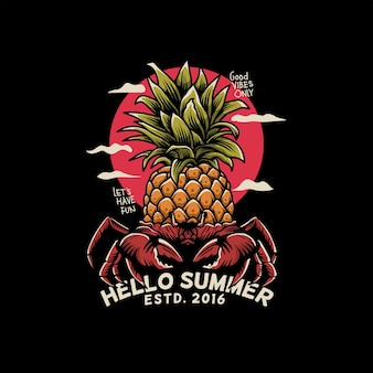 Vintage crab illustration with pineapple as the body