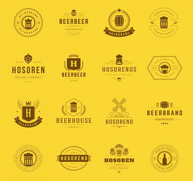 Vintage craft beer logos and badges with barrels, hop cones and beer glass mugs symbols
