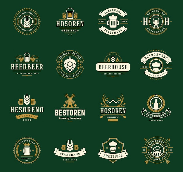 Vintage craft beer logos and badges with barrels with beer glass mugs symbols vector