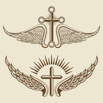 Vintage cross and wings vector elements