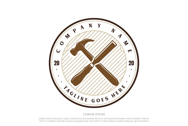 Vintage crossed hammer chisel carpentry woodworking logo design vector