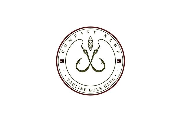 釣りスポーツクラブのロゴデザインベクトルのヴィンテージクロスフックとルアー