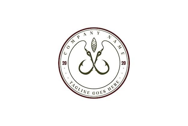 Vintage crossed hook and lure for fishing sport club logo design vector