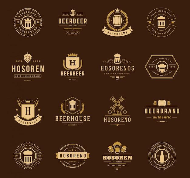 ビンテージクラウンのロゴとエンブレムsetv ectorデザイン要素
