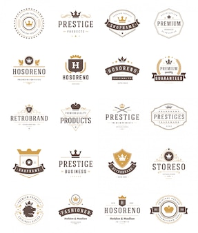 Vintage crowns logos and emblems setv ector design elements