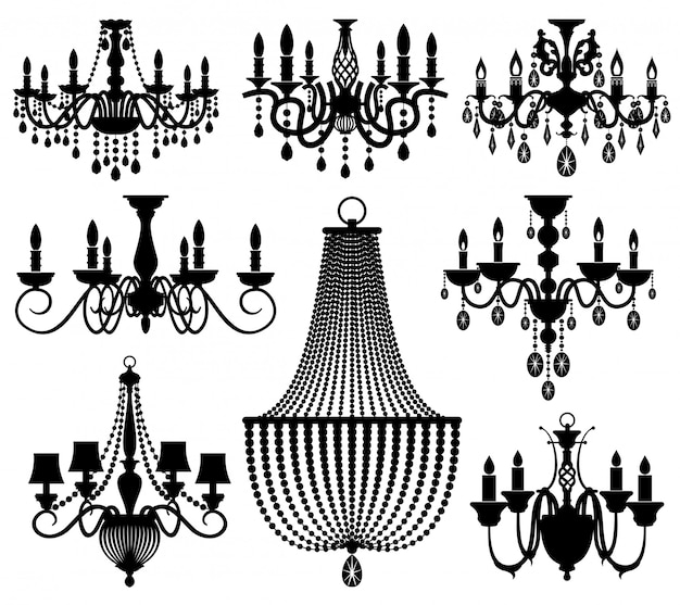 Vintage crystal chandeliers silhouettes isolated on white