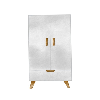 Винтажный шкаф рисованной векторные иллюстрации. мебель для кухни, предметы домашнего интерьера. деревянный шкафчик, ретро рисунок. мебель, кухонный шкаф, изолированные на белом фоне.