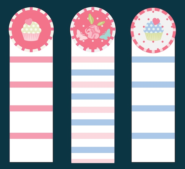 Vintage cupcake and flower pink-blue bookmarks