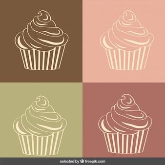 ヴィンテージカップケーキのイラスト