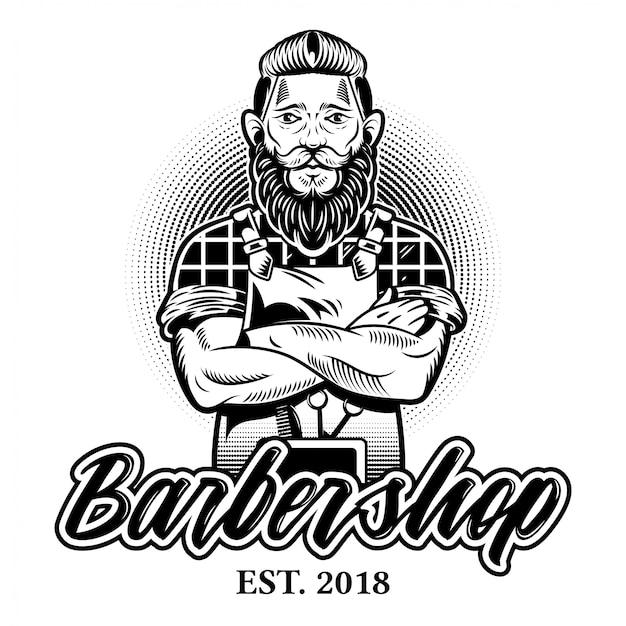 大きな黒いひげ口ひげとスタイリッシュな髪型の理髪店のロゴで流行に敏感な男の床屋を彫刻するビンテージカスタムグラフィックデザイン。スタイルのイラスト。レトロ看板
