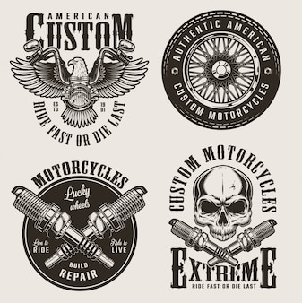 Vintage custom motorcycle badges set