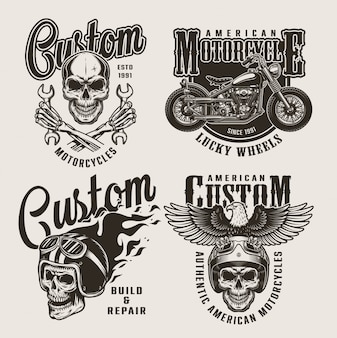 Vintage custom motorcycle badges