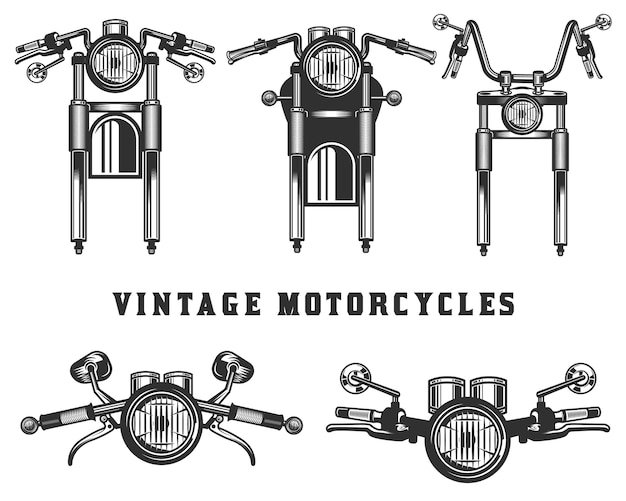 Vintage custom motorcycle elements and parts