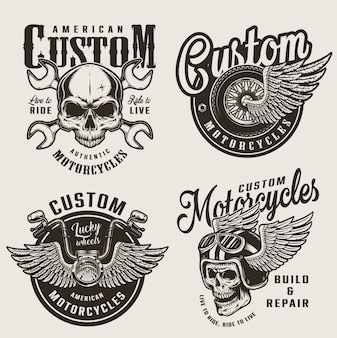 Vintage custom motorcycle emblems