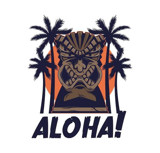 Vintage custom print design of hawaii tribal angry tiki mask idol totem traditional hawaiian primitive wood sculpture.
