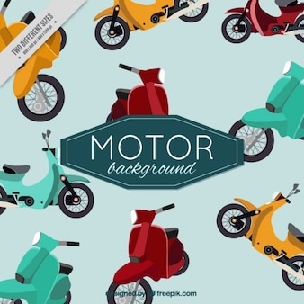 Vintage cute background of motor-scooters